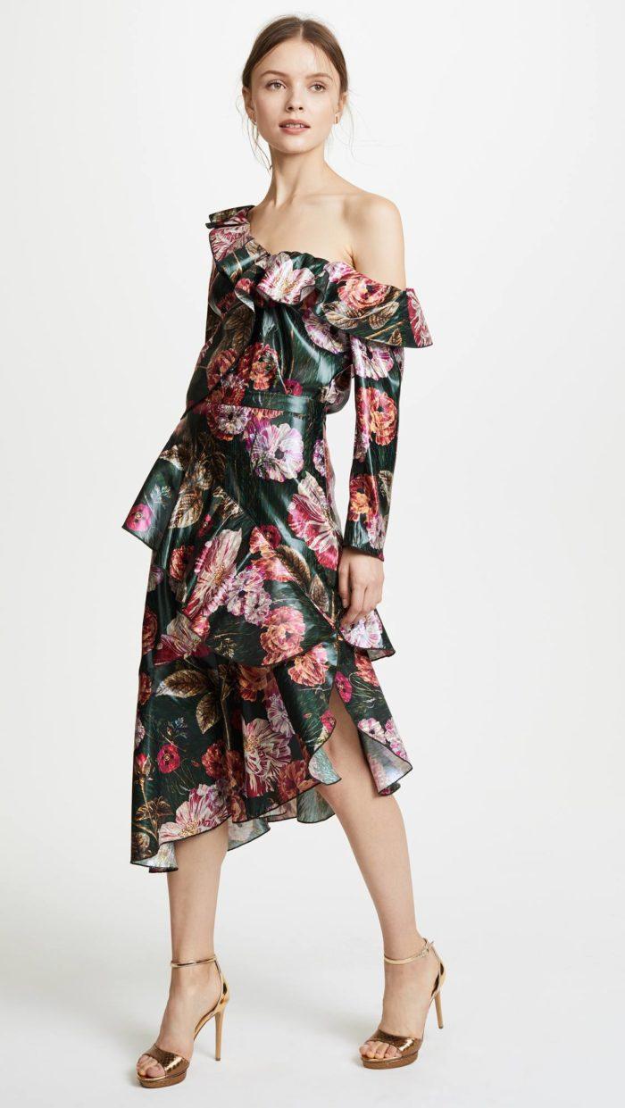 новогоднее асимметричное платье с цветочным принтом для знака зодиака близнецы