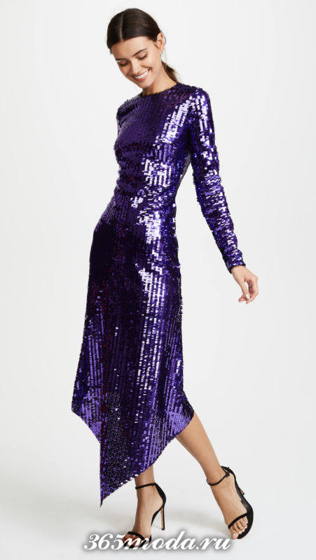 новогоднее блестящее асимметричное миди платье для знака зодиака овен