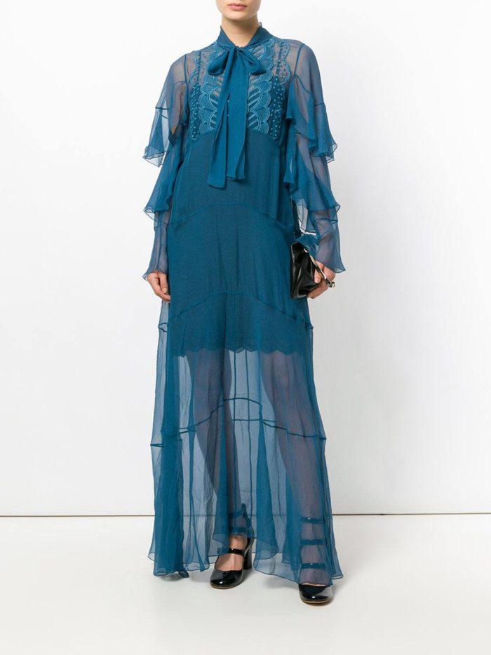 новогоднее синее прозрачное макси платье для знака зодиака дева