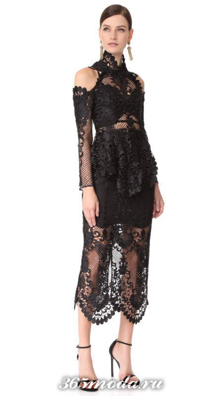новогоднее черное миди платье с кружевом для знака зодиака дева