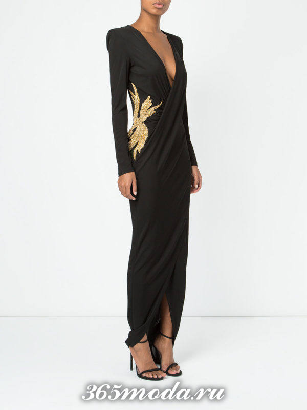 новогоднее черное платье с запахом и рисунком для знака зодиака весы
