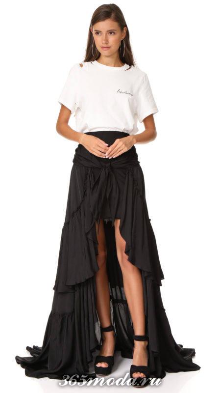 новогодний комплект из асимметричной юбки и белой футболки для знака зодиака весы