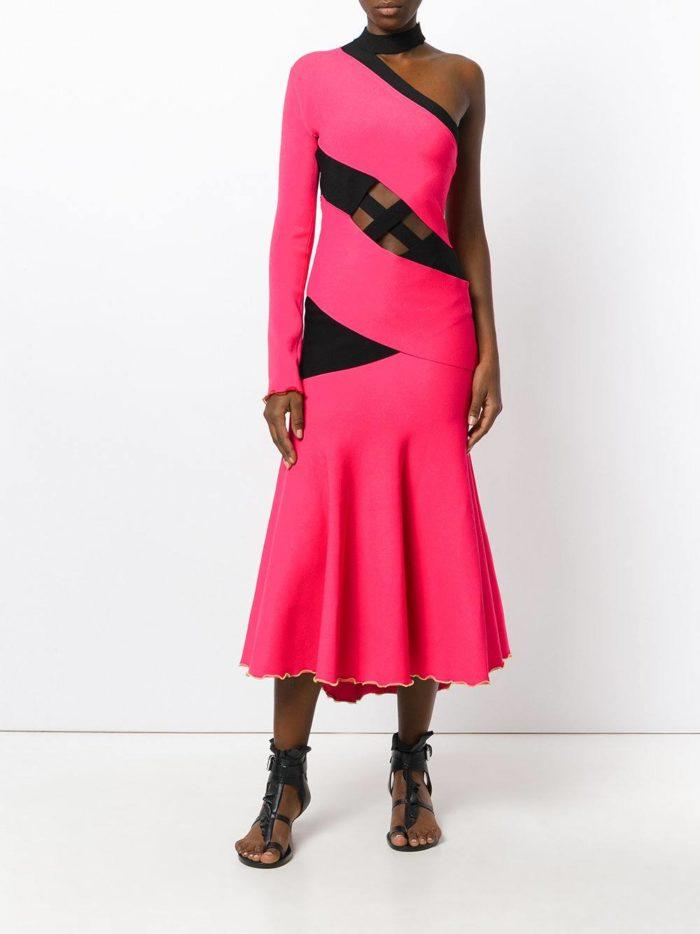 новогоднее розовое платье русалка с вставками для знака зодиака скорпион
