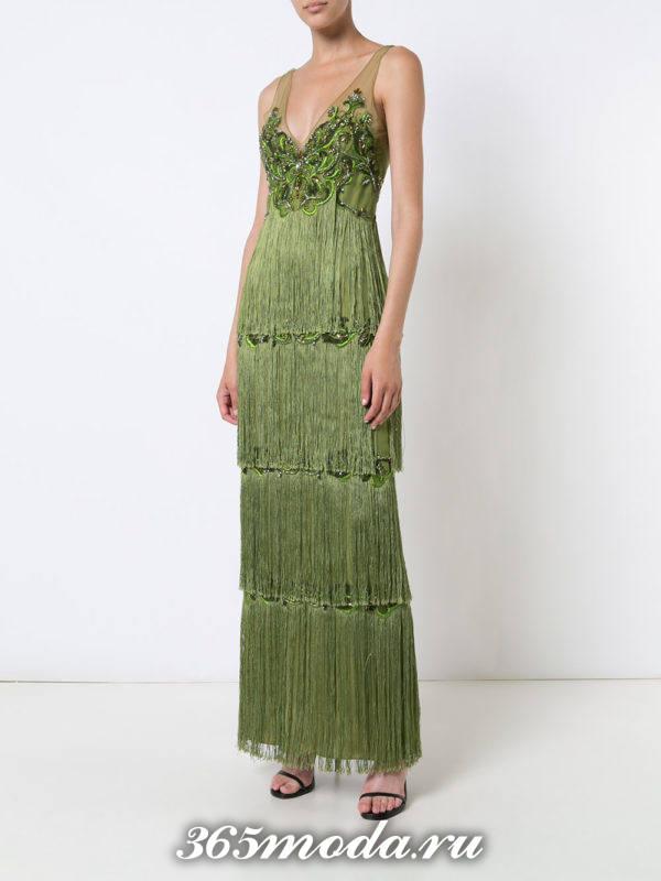 новогоднее зеленое макси платье с бахромой для знака зодиака скорпион