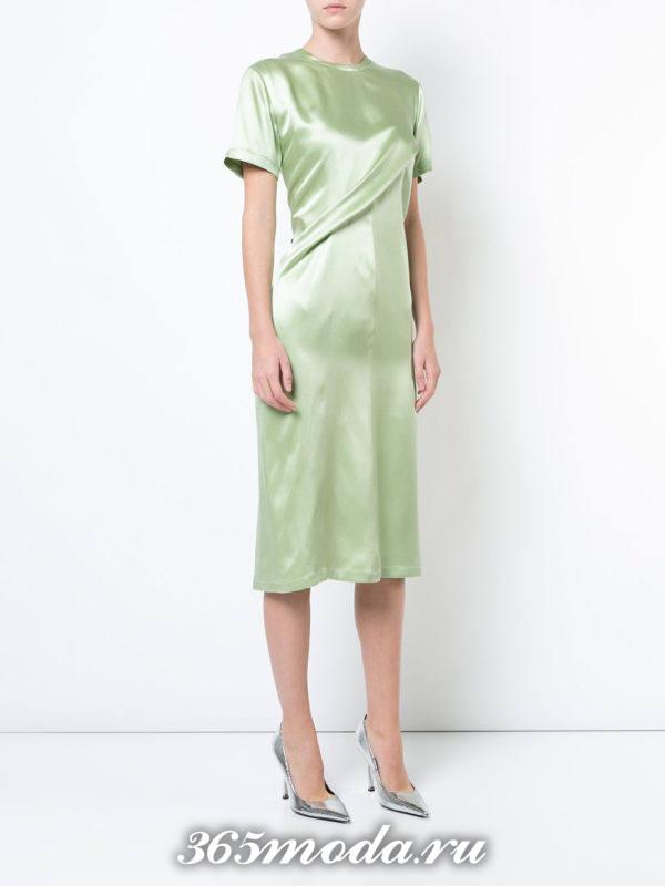 новогоднее шелковое зеленое миди платье для знака зодиака овен