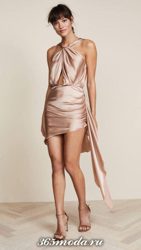 новогоднее шелковое асимметричное мини платье для знака зодиака козерог