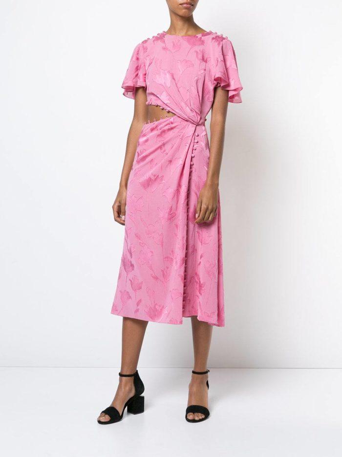 новогоднее розовое миди платье с принтом для знака зодиака овен