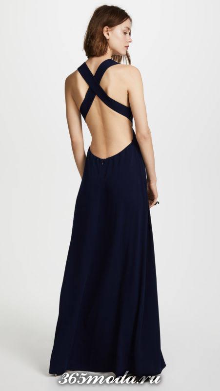 новогоднее синее макси платье с открытой спиной для знака зодиака водолей