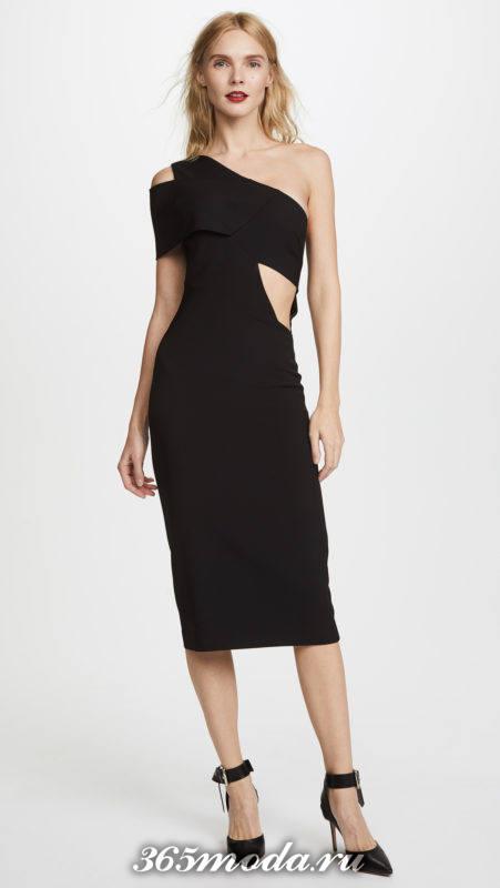 новогоднее черное платье футляр с вырезами для знака зодиака водолей