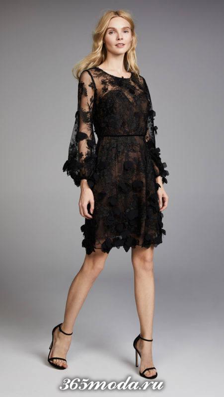 новогоднее черное платье с декором для знака зодиака рыбы
