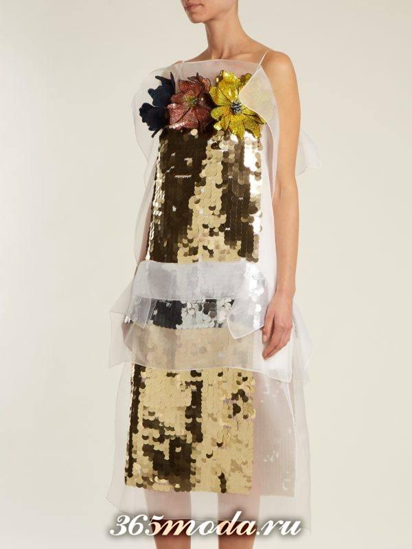 новогоднее миди платье с пайетками для корпоратива в загородном доме