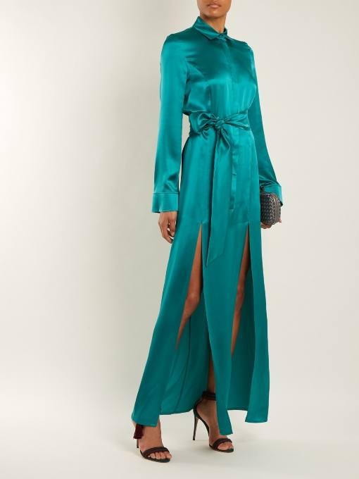 новогоднее шелковое макси платье с разрезами для корпоратива в ресторане