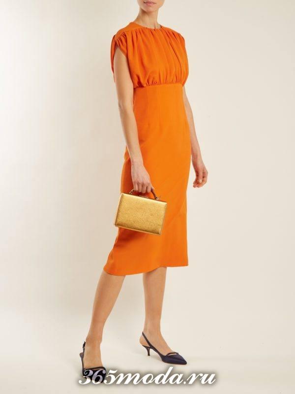 оранжевое платье футляр для новогоднего офисного корпоратива
