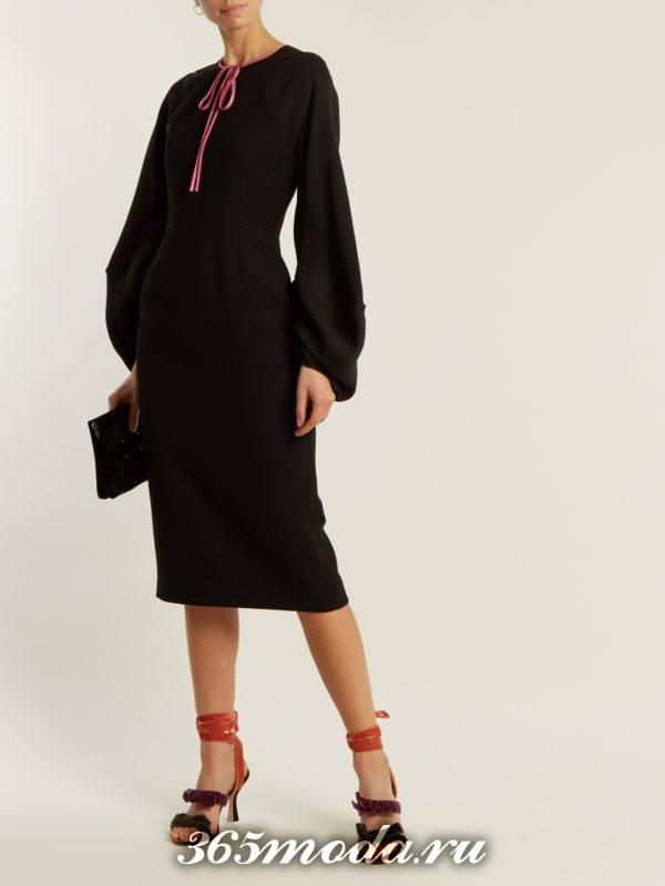 черное платье футляр с длинными рукавами для новогоднего офисного корпоратива