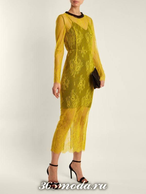 кружевное желтое миди платье для новогоднего корпоратива