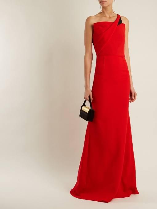 длинное коралловое асимметричное платье c чем носить