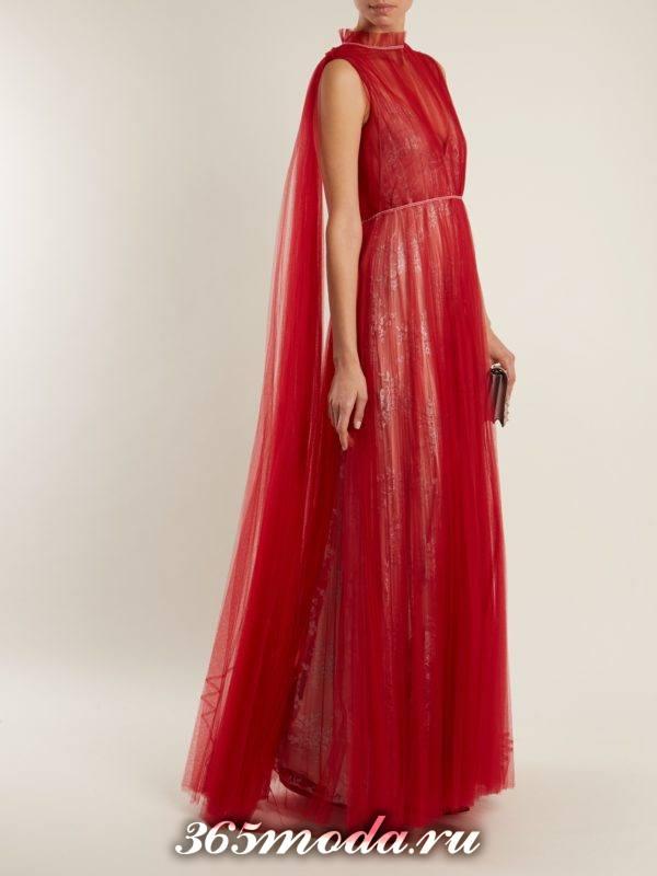 c чем носить длинное коралловое многослойное платье со шлейфом
