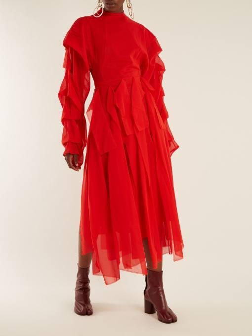 c чем носить коралловое платье миди с оборками