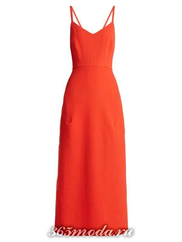 коралловое платье на бретелях c чем носить