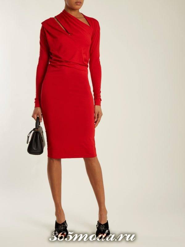 коралловое платье футляр с вырезами c чем носить