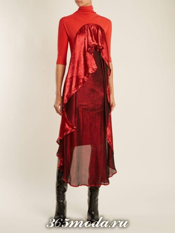 комбинированное асимметричное коралловое платье c чем носить