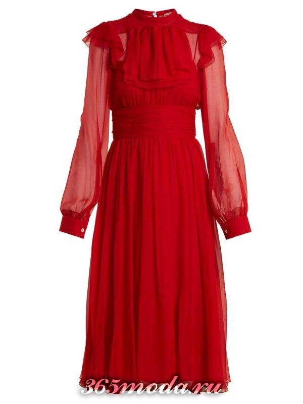 c чем носить коралловое платье клеш с поясом и прозрачными рукавами