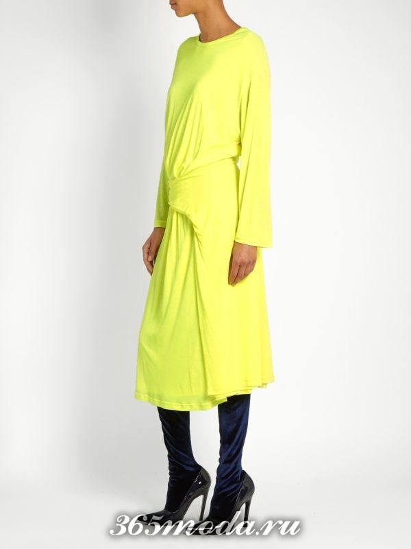 желтое платье со сборкой с длинными рукавами осень-зима