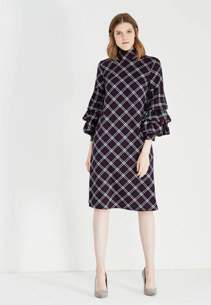 платье в клетку с оборками на рукавах с воротником осень-зима