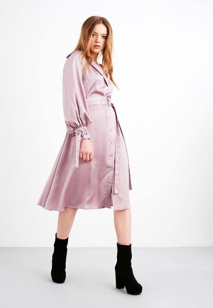 шелковое платье с поясом с воротником осень-зима