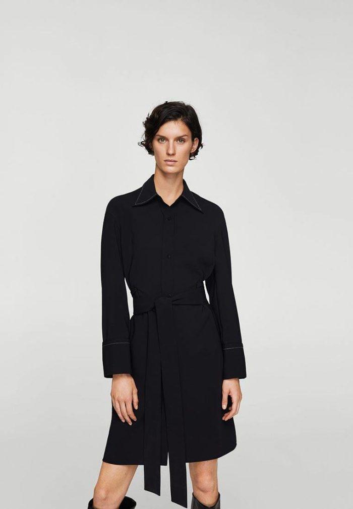черное платье рубашка с воротником осень-зима