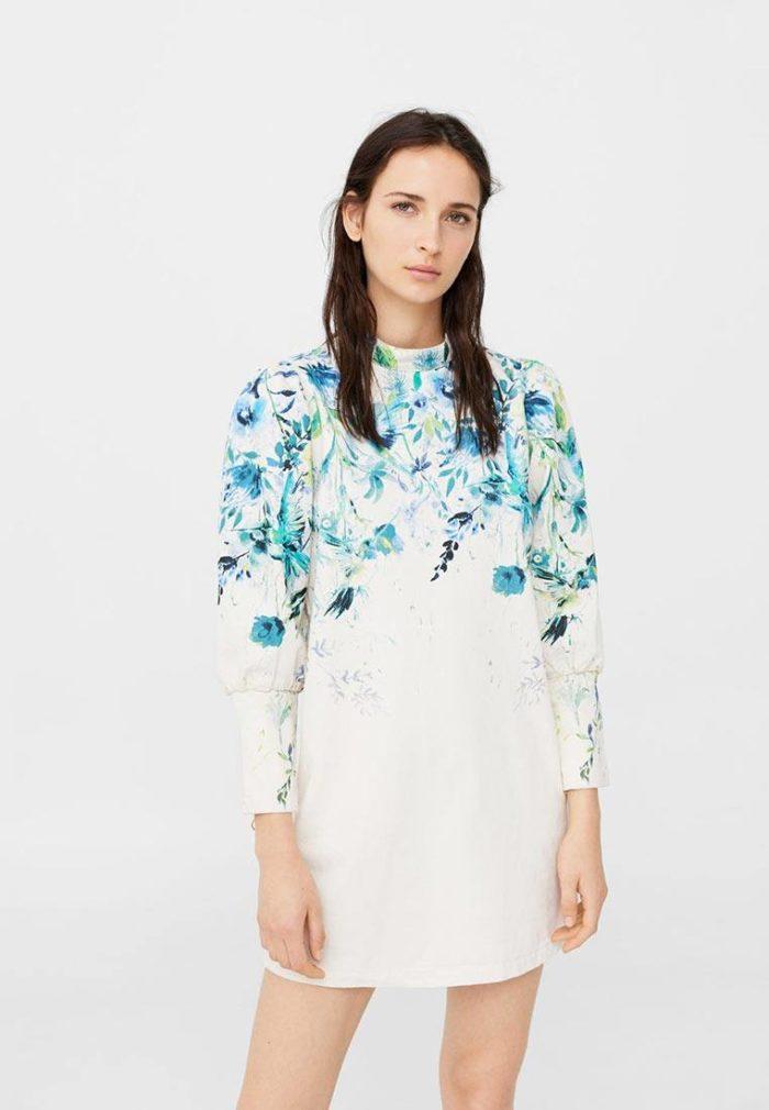 белое платье с декором с воротником осень-зима