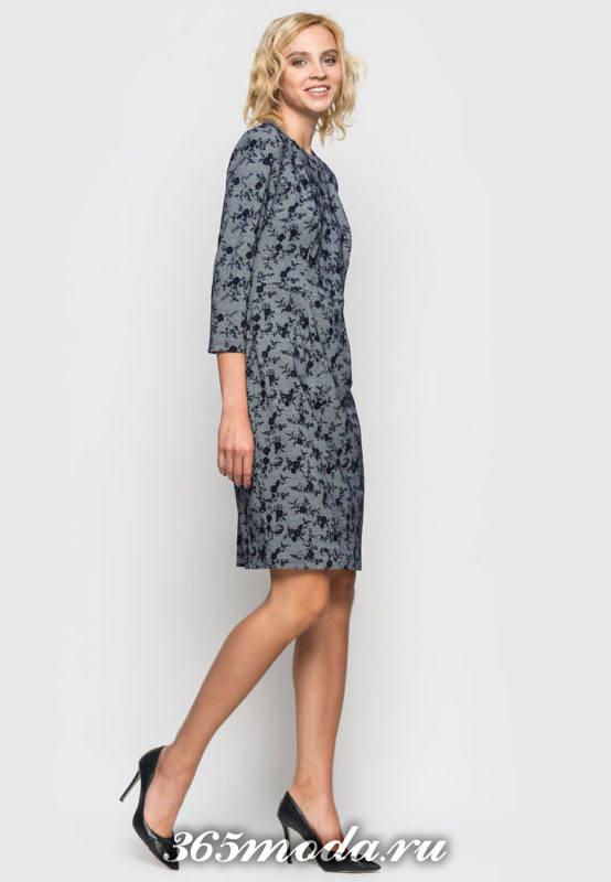 платье футляр с принтом осень-зима