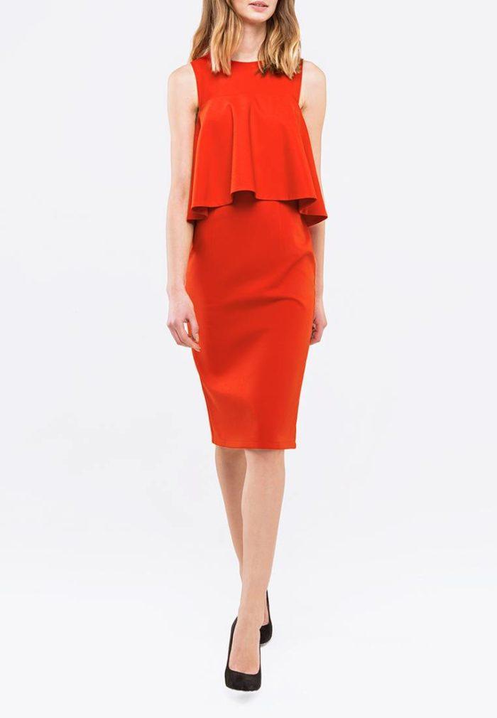 красное платье футляр с воланом осень-зима