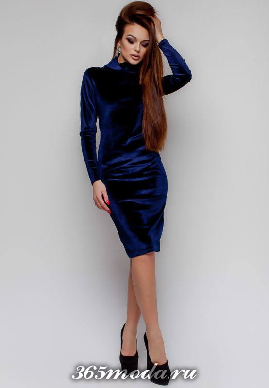 бархатное синее платье футляр осень-зима