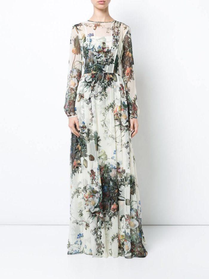 вечернее макси платье с принтом осень-зима