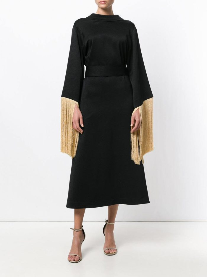 черное вечернее платье с бахромой осень-зима