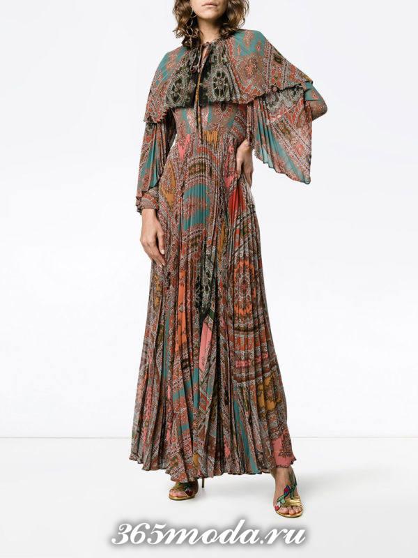 вечернее макси платье плиссе с принтом осень-зима