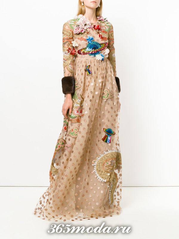 золотое вечернее макси платье с мехом осень-зима