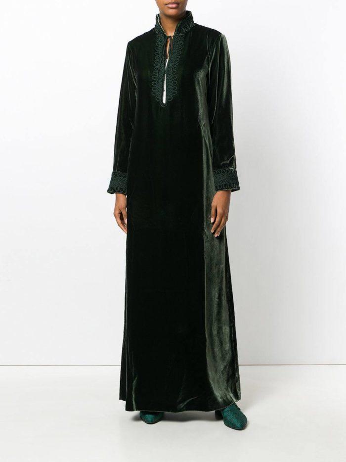 зеленое вечернее бархатное макси платье осень-зима