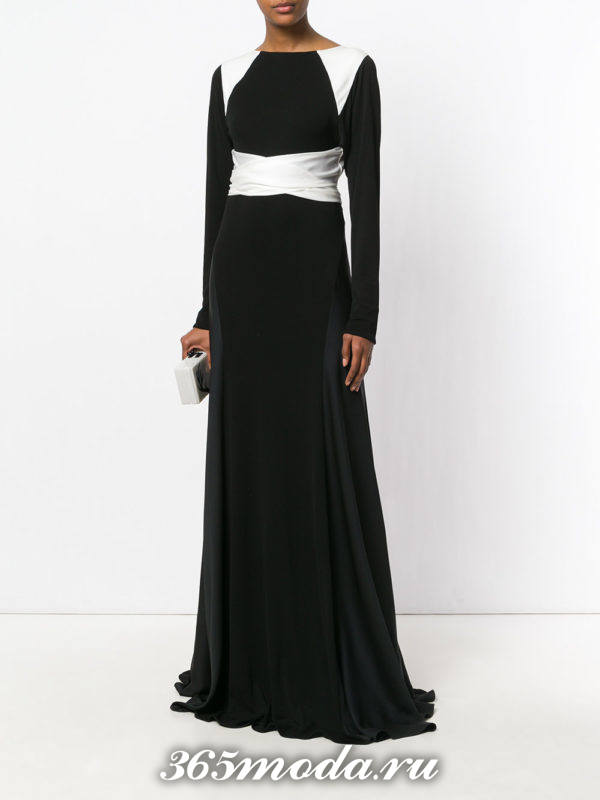 черное вечернее макси платье с белыми полосками осень-зима