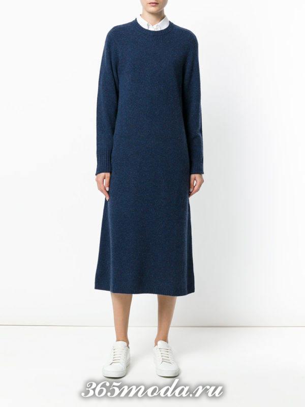 синее вязаное миди платье осень-зима