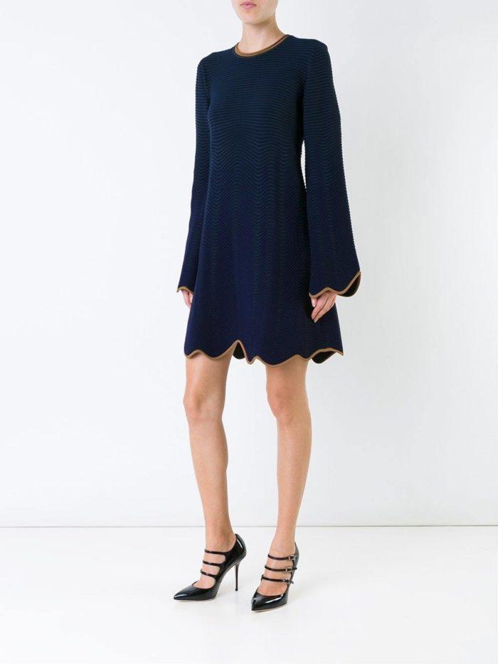 вязаное мини платье клеш осень-зима