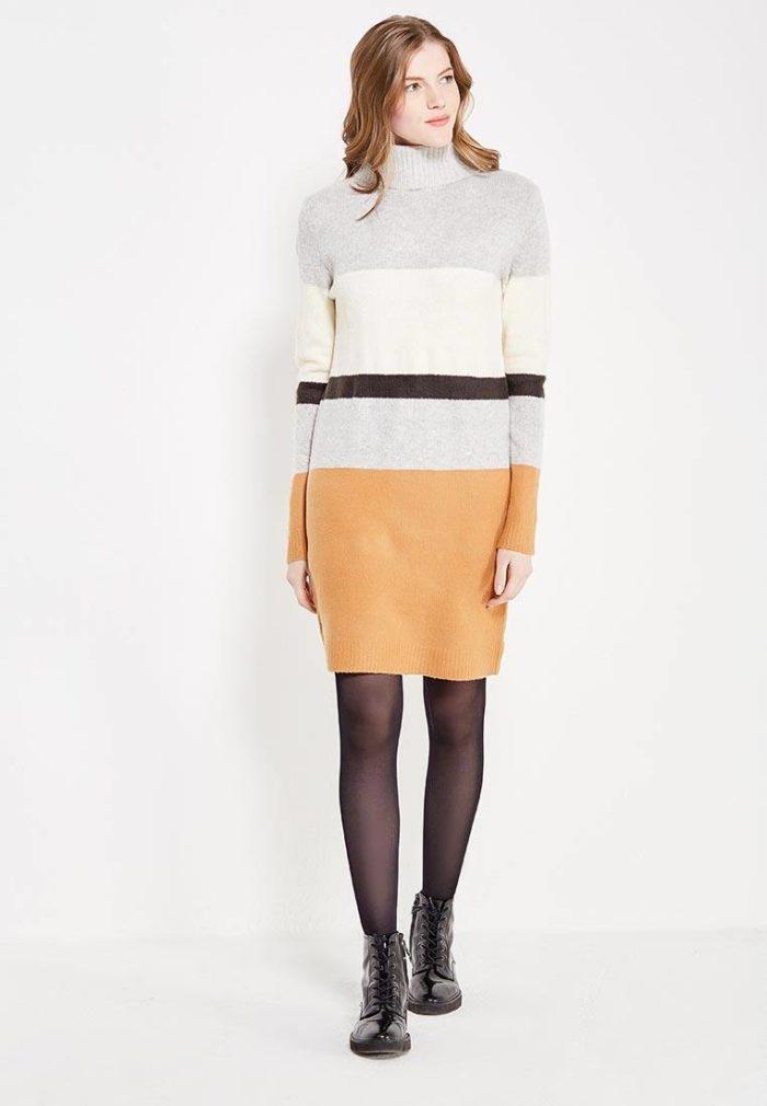 платье свитер с полосками с длинными рукавами осень-зима