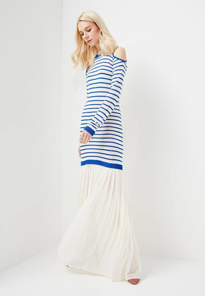 вязаное комбинированное полосатое платье осень-зима