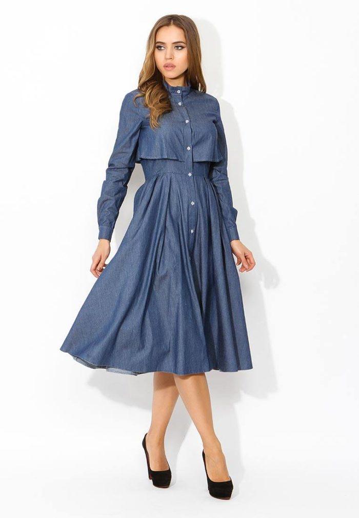 джинсовое миди платье клеш осень-зима