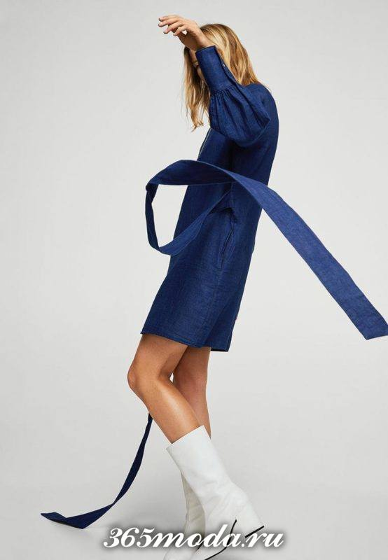 джинсовое мини платье с пышными рукавами осень-зима