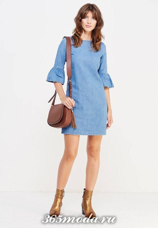 джинсовое мини платье с рукавами клеш осень-зима