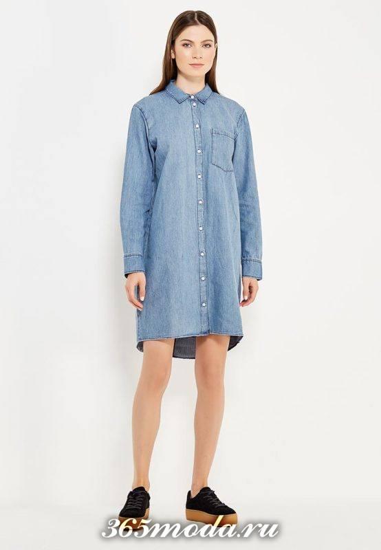 джинсовое платье рубашка осень-зима