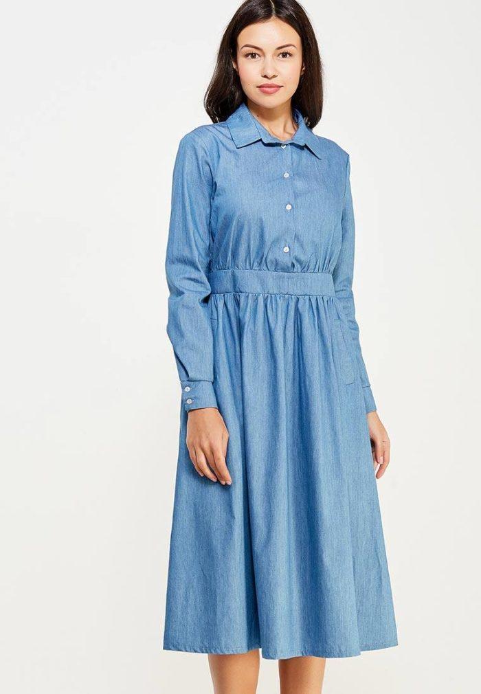 джинсовое платье клеш с поясом осень-зима