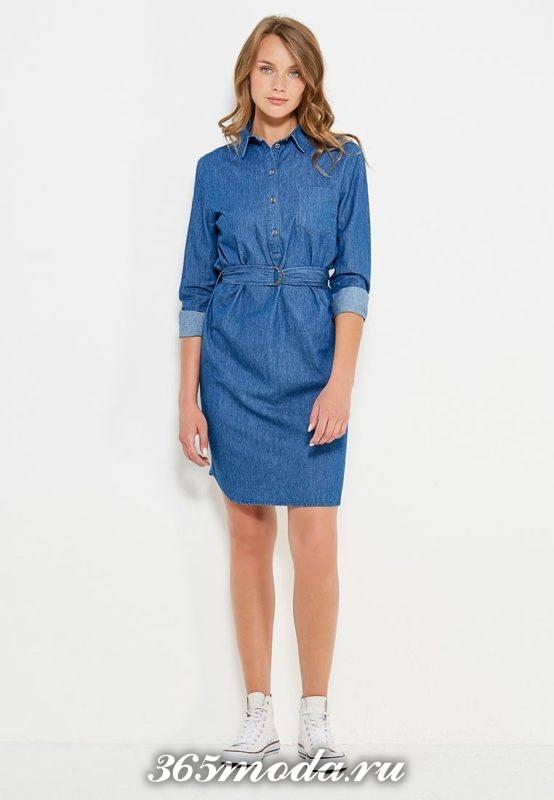 джинсовое платье рубашка с поясом осень-зима